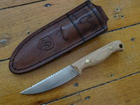 Condor Trelken Fixed Blade Knife Hickory Wood Handles, Welted Leather Drop Sheath