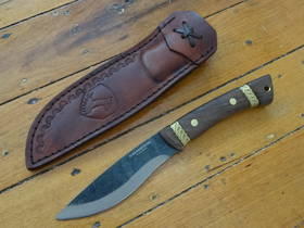Condor Large Huron Fixed Blade Knife 1095 Carbon Steel, Walnut Wood Handles, Welted Leather Sheath