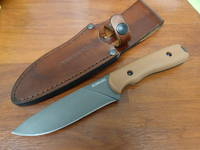 Schrade Frontier Fixed Brown Grivory Handles, Leather Sheath SCHF42D