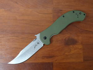 Kershaw Emerson CQC-10K Folding Knife Stonewashed Bowie Blade with Wave