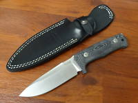 LionSteel T5 Solid Fixed Satin Niolox Blade, Micarta Handle, Leather Sheath
