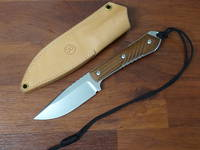 Chris Reeve Nyala Classic Skinner Fixed, Stonewashed Blade, Brown Micarta Handles, Leather Sheath