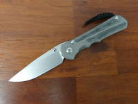 Chris Reeve Large Inkosi Folding Knife, Double Lugs, Titanium with Black Canvas Micarta Inlays