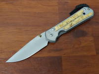 Chris Reeve Large Sebenza 21 - Box Elder Inlay  Polished Blade, Titanium Handles w/ Macassar Ebony Wood Inlays