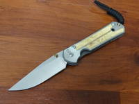 Chris Reeve Small Sebenza 21 - Box Elder Inlay  Polished Blade, Titanium Handles w/ Macassar Ebony Wood Inlays