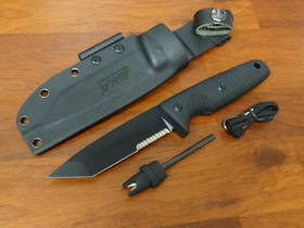 EKA Nordic T12 Tactical Fixed Black Sandvik 12C27 Tanto Combo Blade, G10 Handles, Kydex Sheath