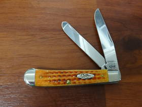 Case Cutlery Jigged Harvest Orange Bone Trapper Pocket Knife - 7401