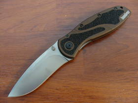 Kershaw Blur Folding Knife Stonewash Elmax Brown Handle
