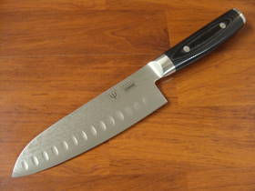 RAN Japanese DAMASCUS SANTOKU KNIFE 165mm HOLLOW GROUND
