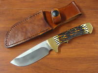 Schrade Uncle Henry Elk Hunter Fixed Staglon Handles, Leather Sheath