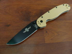 Ontario RAT M1 Black Razor Edge Folding Knife Tan Handles
