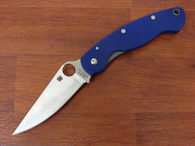 Spyderco  Military Folding Knife S110V Satin Plain Blade, Blue G10 Handles