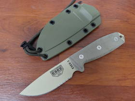 Esee Model 3 MICARTA HANDLE DROP POINT PARTLY SERRATED EDGE KNIFE - ESEE3SDT