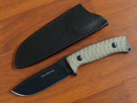 Fox Knives Pro Hunter Fixed Micarta Handles, Black Leather Sheath FX131MGT