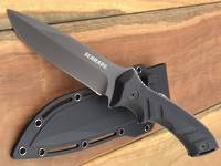 Schrade Drop Point Fixed Black Blade, TPE Handles