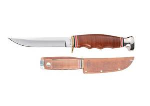 Ka-Bar 1232 Hunter Stacked Leather Handles, Leather Sheath