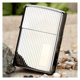 Zippo High Polish Chrome Stripes Lighter - 350