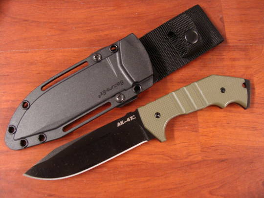"Cold Steel AK-47 Field Knife Fixed 5-1/5"" Blade, OD Green G10 Handles, Secure-Ex Sheath"