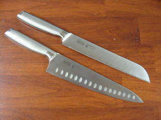 SAYAKA Japanese San Mai 3 layers Chef's Knife with 2 sides ground hollow 200mm + Bread Knife 195mm