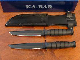 KA-BAR Short Black Tanto Knife -Leather Sheath