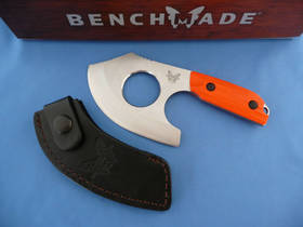 Benchmade Hunt Nestucca Cleaver S30V with Finger Hole, Orange G10 Handles, Leather Sheath