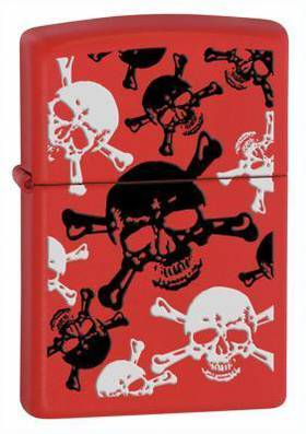 ==FREE FUEL==ZIPPO SKL & XBNS  Red Matte (Skull) Lighter
