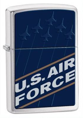Zippo US Air Force Blue Brushed Chrome Lighter