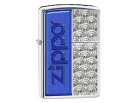 Zippo Blue Zippo Logo/Design HP Chrome Lighter