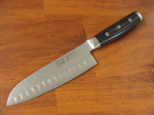 GOU Damascus Japanese Santoku Knife 165mm with ground hollow