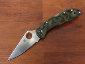 Spyderco Delica 4 Flat Ground Plain Edge Folding Knife Zome Green FRN Handles