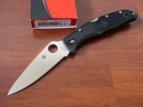 Spyderco Endura 4 Full-Flat Ground Folding Knife, Black. Orange, Blue